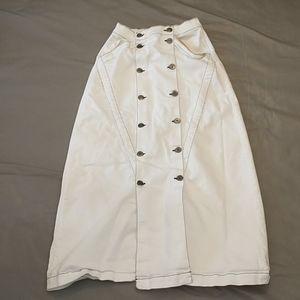3x1 Jason Wu white button front denim skirt